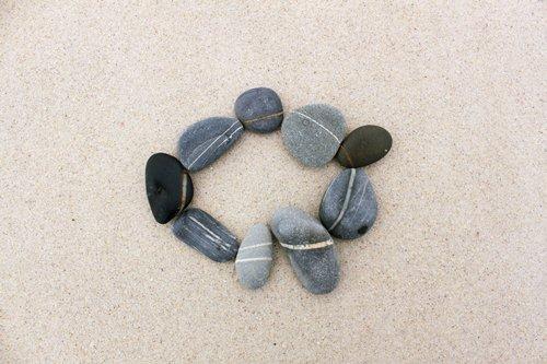 Peaceful rock meditation on the beach, West Coast, South Africa