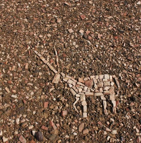 Oryx/Gemsbok created from stones - land art by Janet Botes