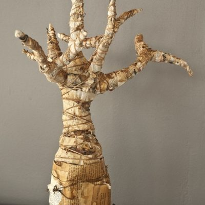 """""""Grow"""", mixed media sculpture, approx 400mm tall, 2011 Created by using discarded or waste materials as core material, with coffee as colourant and using string and wire to give form to the sculpture"""
