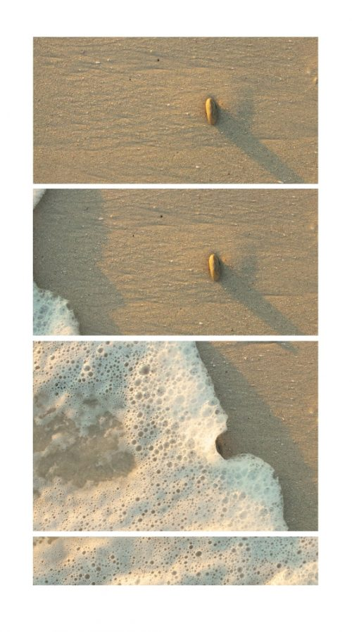 Three photos of waves on the beach