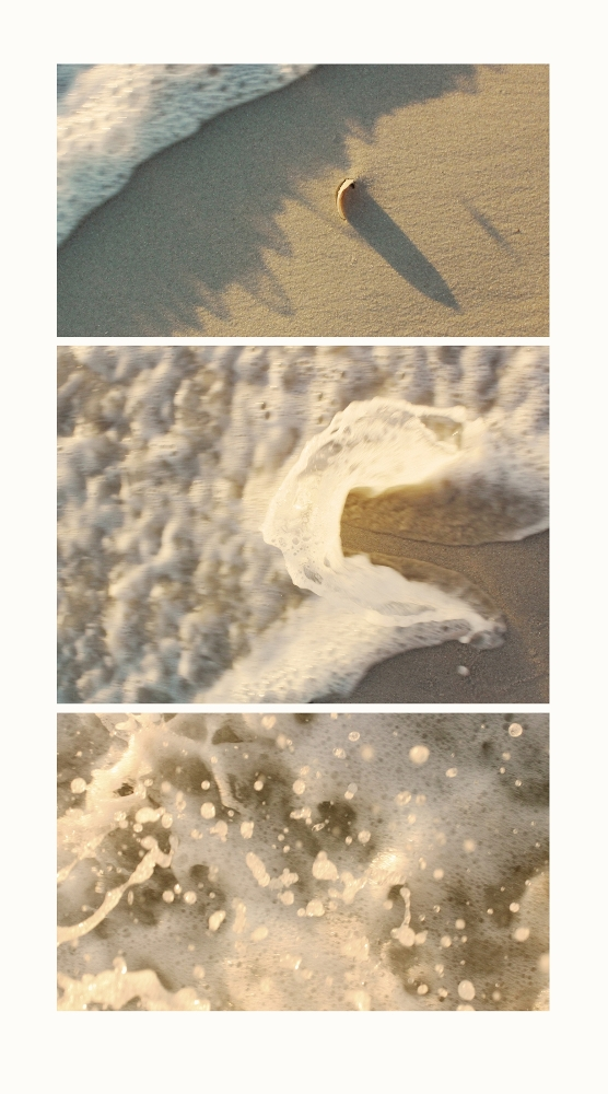 Three photos of the waves on the beach