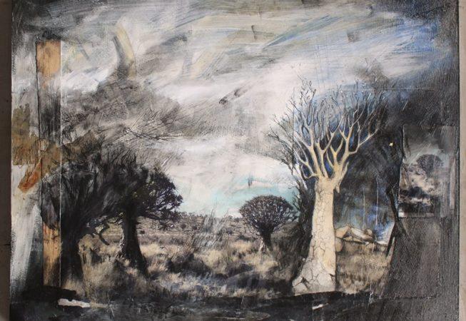 Namakwa Quiver Trees, Mixed media on wood, 500 x 400 x 4mm, 2014
