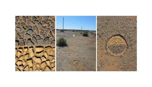 Three photos of a circle made with rocks in the dirt